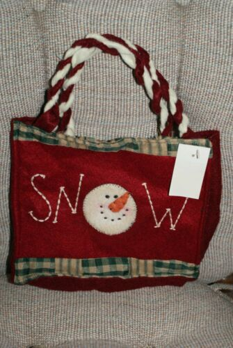 Snowman Carrot Nose Snow Tote Bag Holiday Felt & Fabric Crafts 8 w x 7 t x 2 d