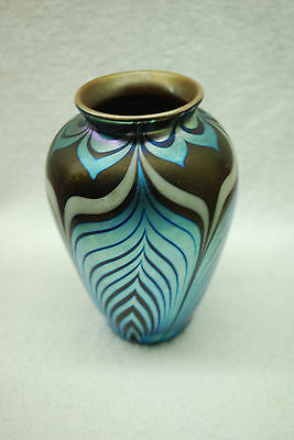 BEAUTIFUL SIGNED DARK BLUE ART GLASS PULLED FEATHER VASE 1970'S