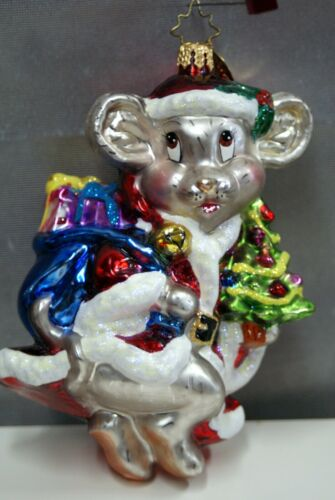 """5"""" TALL MARKED RADKO CHRISTMAS MOUSE WITH PRESENTS and TAG sp"""