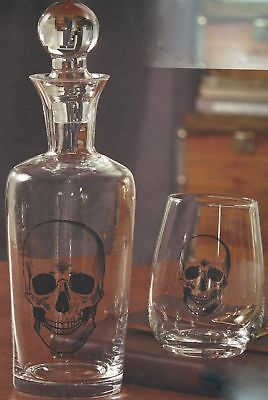 India Handcrafts Skelton Skull Halloween Stemless Wine Glass Spirits Decanter (Halloween Handcrafts)