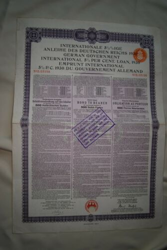 Germany: 1930 German Government International 5 1/2 % Loan, 500 Dutch Guilders