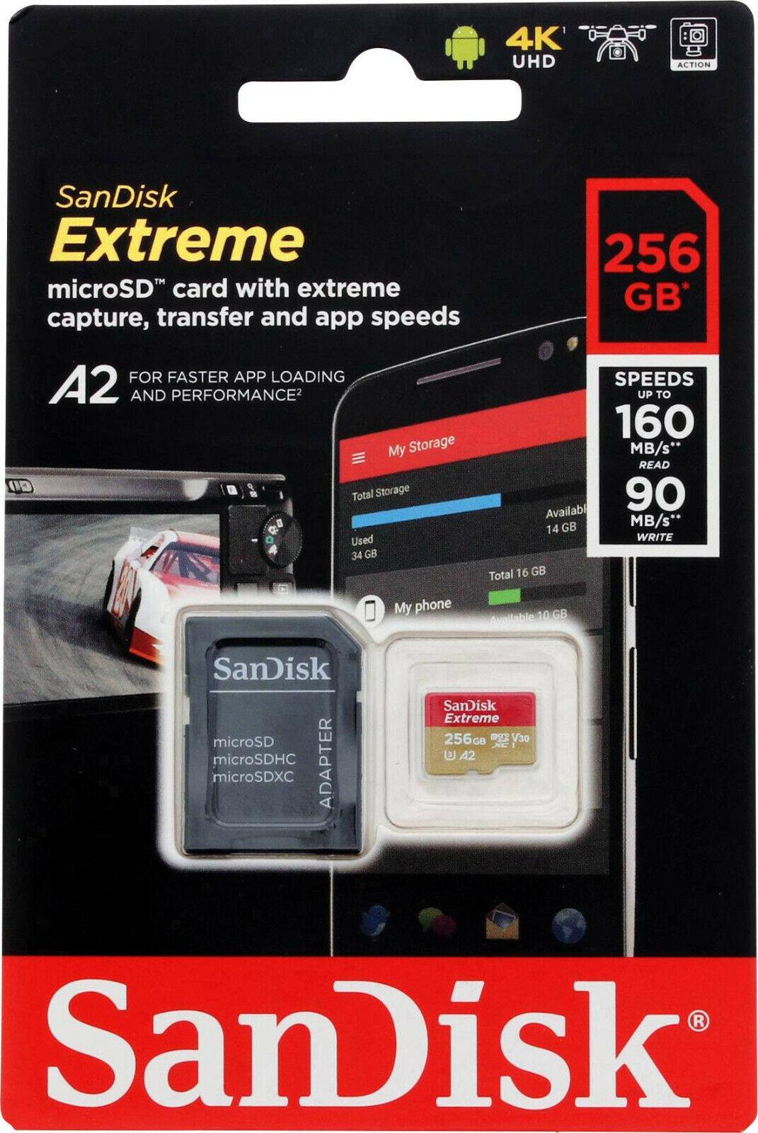 SanDisk Extreme 256GB 160MB/S Class 10 Micro SD MicroSDXC U3