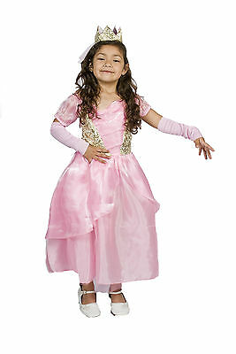 Pink Girl Costume (Girls Pink Princess Halloween Costume FREE TIARA,SLEEVES Size S M 4 5 6 7)