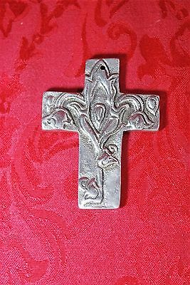Vintage Ala Carte 144 Mexico Metal Cross Floral Rose Pendant Buffy Vampire Slaye