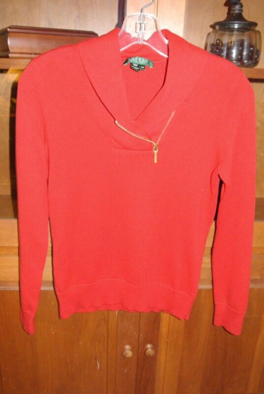 Women's Size P/P Ralph Lauren Petite Red long sleeve sweater