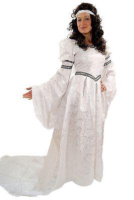 Kostüm Jaquard KLEID Märchen Prinzessin Mittelalter Gothic Romantik weiß K22 NEU ()