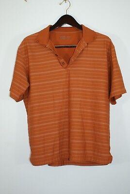 Men's Nike Fitory Striped Orange Golf Polo Short Sleeve- Men's Medium GB16180