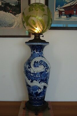 ANTIQUE ART NOUVEAU JAPANESE CHINESE PORCELAIN DRAGON BACCARAT GLASS OIL LAMP
