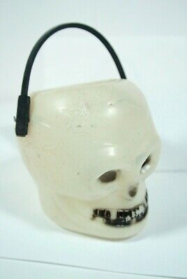 VINTAGE Skull Skeleton HALLOWEEN CANDY Trick Treat BUCKET HOLDER PAIL blow mold