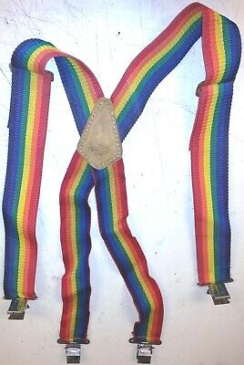 Firefighter Suspenders For Turnout Pants Rainbow Elastic Adjustable Clasp