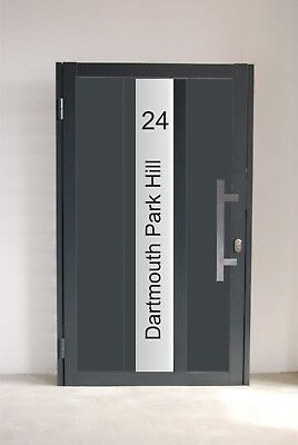 Aluminium Entrance Gate - laminated glass with house number and street name