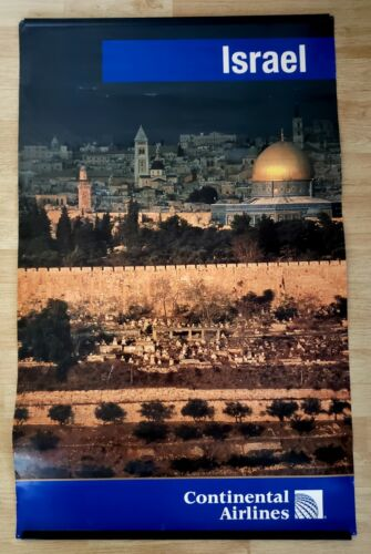 Continental Airlines large Israel poster Dome of the Rock 25 x 40 inches
