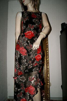 Rosen Langes Kleid (Langes KLEID Sommerkleid schwarz mit roten Rosen Volants Urlaub Party nw 42)