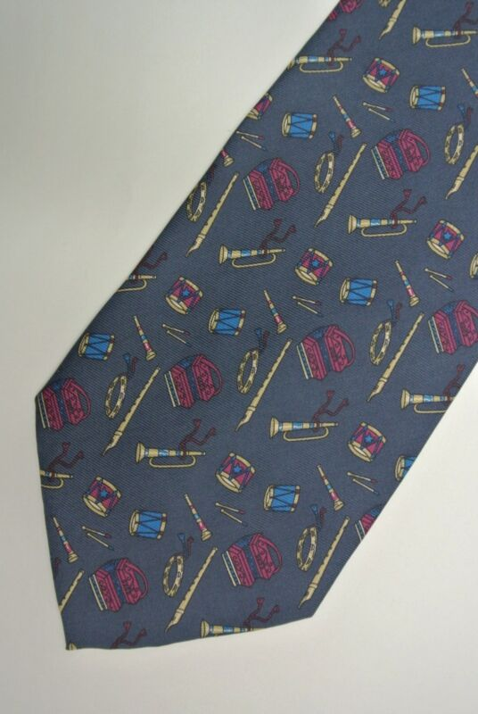 "Blue ""UMBERTO SCOLARI"" SILK Musical TIE,  MADE IN ITALY. 3.8"" Wide 56"" Long"