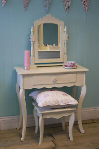 Cream Dressing Table, Vanity Mirror Stool Shabby Chic Vintage Victorian Bedroom