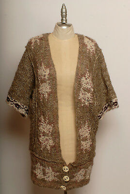 (FREE PEOPLE wool multi-color knitted long low open front three button cardigan S)