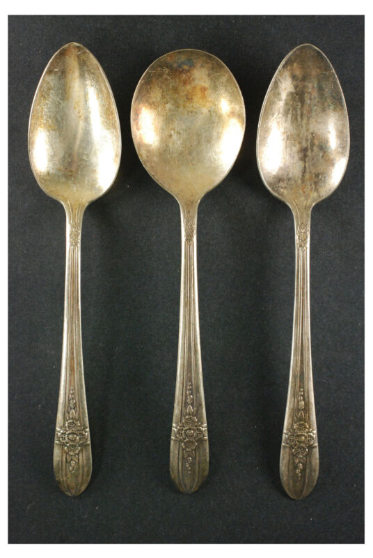 "Vintage Silver Plate 7 1/4"" Original Rogers Spoons Lot of 3"