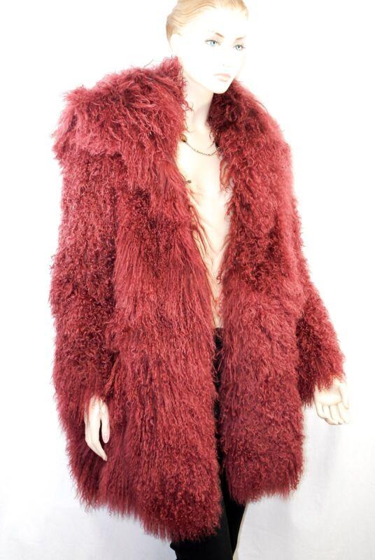 $3,445 Versace Versus 38 Long Goat Hair Lamb Fur Coat Winter Jecket Women Italy
