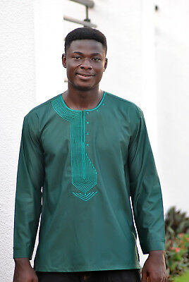 Embroidered Green Men's Long Sleeve Shirt Ankara African Clothing Fashion Wear