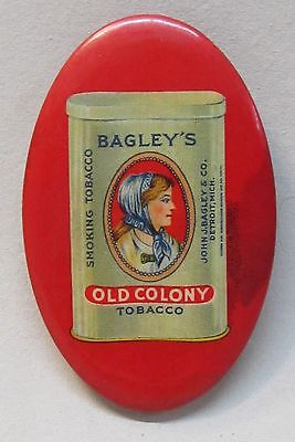 circa 1910  BAGLEY'S OLD COLONY TOBACCO Detroit MI ad celluloid pocket mirror *