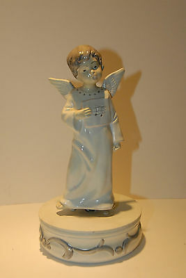 "BOY ANGEL MUSICAL ROTATING ""SILENT NIGHT"" VINTAGE RETRO HOLIDAY CHRISTMAS CHOIR"