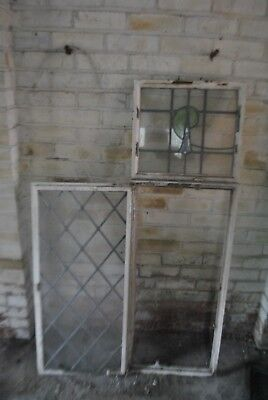 Seven 1930's Metal Framed Windows with Stained Glass and Leaded Lights