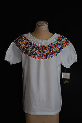 Vintage 1970's Hippie LOVE White cotton embroidered PEASANT top NOS Blouse