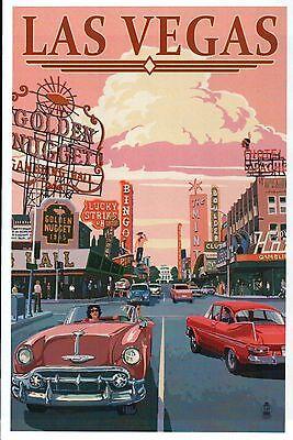 Las Vegas Nevada, Cars, Golden Nugget & Lucky Stirke Casino etc. Modern Postcard