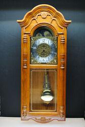 NICE HOWARD MILLER ROTHWELL DUAL CHIME GOLDEN OAK 620-184 PENDULUM WALL CLOCK