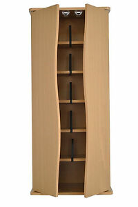 Oak Small DVD CD Storage Cabinet Cupboard Rack Tower Unit with 5 Shelves
