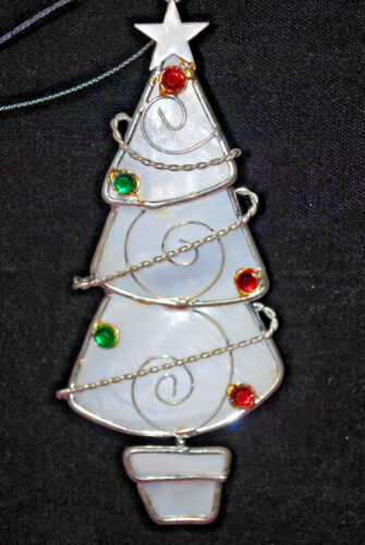 Reed & Barton Mother of Pearl Silver Plated Christmas Tree Ornament  X 863