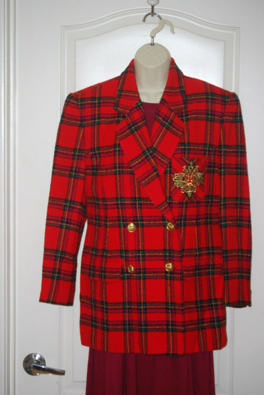 RED plaid wool GOLD CREST crown SUITING fitted suit BLAZER jacket COAT 6 Germany