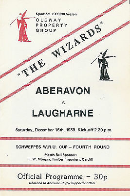 Aberavon v Laugharne 16 Dec 1989 RUGBY PROGRAMME - WELSH CUP 4th round