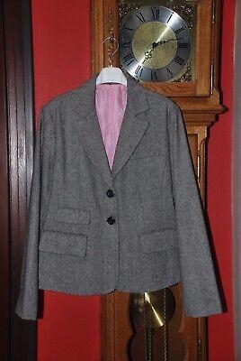 Veste de tailleur Blazer gris moyen à chevrons Taille 44 Très Bon Etat!!