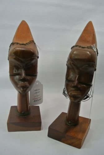 Hand Made African Style Male & Female Head Carving - $50 each/sold as set