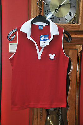 """Polo T-shirt""""DISNEY""""rouge bordeaux Sans Manches Taille S NEUF avec étiquette!"""