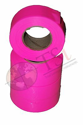 Presco Texas Pink Glo Flagging Tape Ribbon For Survey Construction (12Rolls)