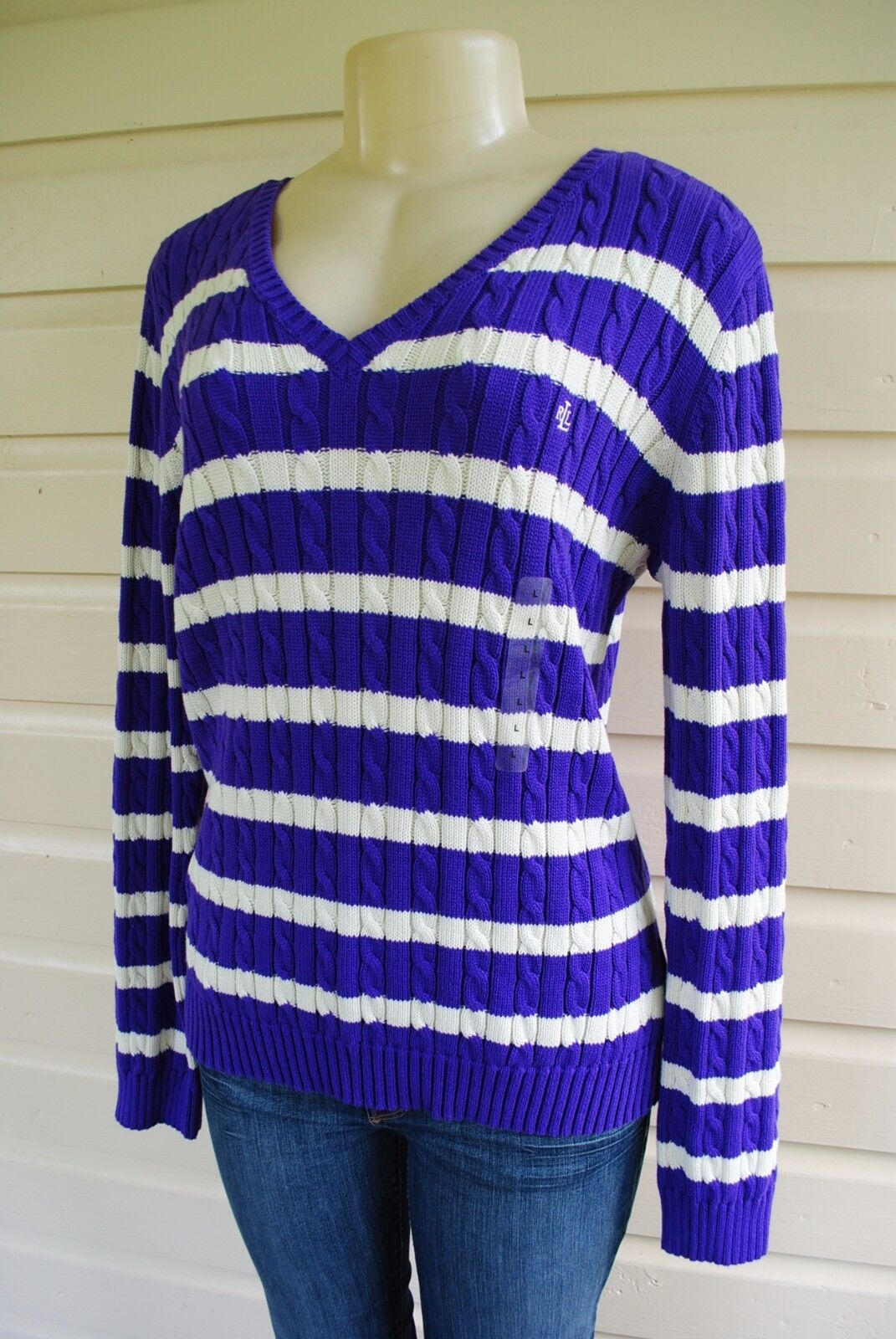 New RALPH LAUREN Cable Knit Logo V-neck Purple Striped Sweater Top ...