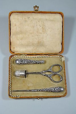 Antique Victorian Sewing Kit Silver 800 by Acier