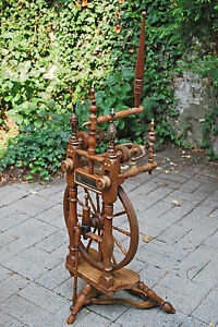 Antique-Double-Flyer-Flax-Spinning-Wheel-Dated-1895-German