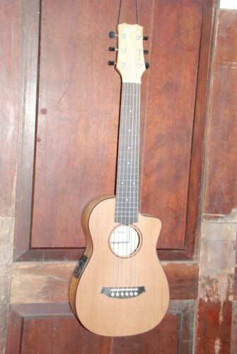 Cordoba Mini SM-CE Acoustic Electric Cutaway Nylon String Spalted Travel Guitar