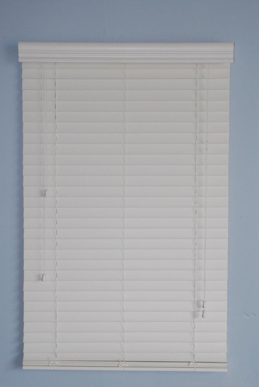 2 faux wood window blinds 43w x