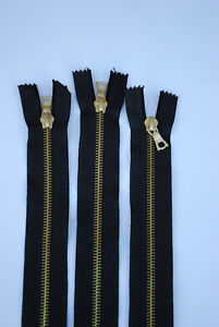 Riri 36cm openended black and gold zip