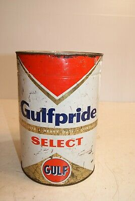 Vintage Gulf Gulfpride Select Oil Can 5 Quart
