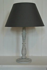 Country-Shabby-Table-Bedside-Lamp-Annie-Sloan-finish-with-grey-cotton-shade