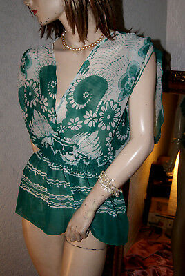 Modisches Sommer Top * Bluse * Tunika grün - weiß geblümt seidenfein 42