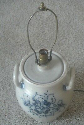 Vintage Rockdale Crock Lamp Union Stoneware Cambridge Salt Glass Blue Hearts