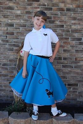 Kids Costume 50s Rock n' Roll Poodle Skirt, Shoes Size Girls 7-9 yrs MINT!!](Kids Rock N Roll Costume)