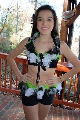 Black lime white custom competition dance costume lyrical open jazz adult - White Jazz Kostüm