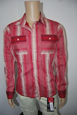 Blend of America Herrenhemd Baumwolle langarm Hemd gestreift rot beige L Top Zst - Blend Langarm Top